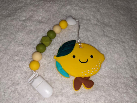 SILICONE TEETHER CHEWING TOY PACIFIER CLIP Food Fruit Lemon TC1400