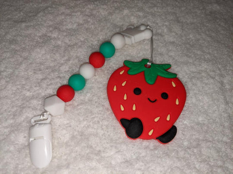 SILICONE TEETHER CHEWING TOY PACIFIER CLIP Food Fruit Strawberry TC1401