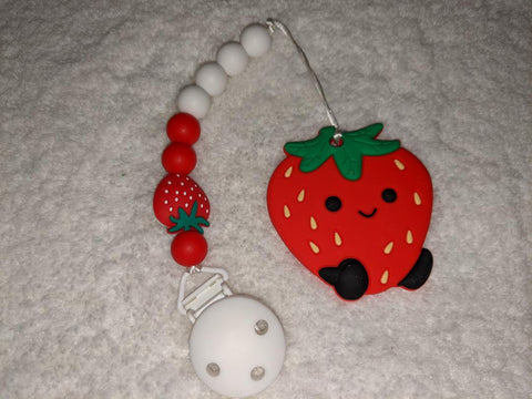 SILICONE TEETHER CHEWING TOY PACIFIER CLIP Food Fruit Strawberry TC1402
