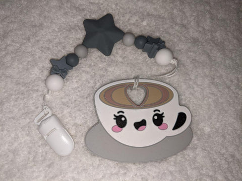 SILICONE TEETHER CHEWING TOY PACIFIER CLIP Drink Coffee TC1404