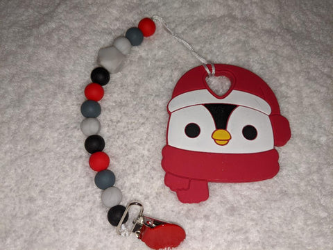 SILICONE TEETHER CHEWING TOY PACIFIER ClIp Christmas Penguin TC1413