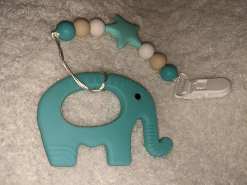 SILICONE TEETHER CHEWING TOY PACIFIER CLIP ELEPHANT TC1426