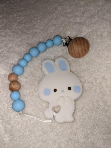 SILICONE TEETHER CHEWING TOY PACIFIER CLIP BUNNY TC1428