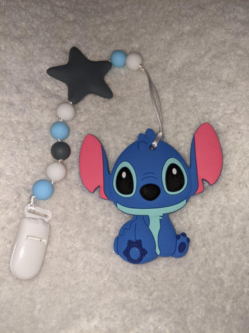 SILICONE TEETHER CHEWING TOY PACIFIER CLIP Alien TC1432