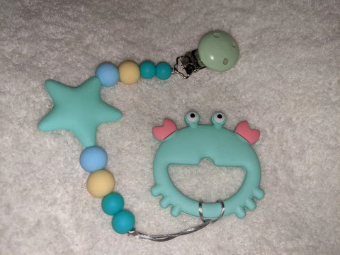 SILICONE TEETHER CHEWING TOY PACIFIER CLIP Ocean Crab TC1441