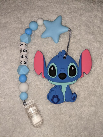 SILICONE TEETHER CHEWING TOY PACIFIER CLIP Alien TC1488