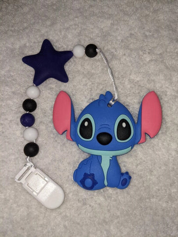 SILICONE TEETHER CHEWING TOY PACIFIER CLIP Alien TC1489