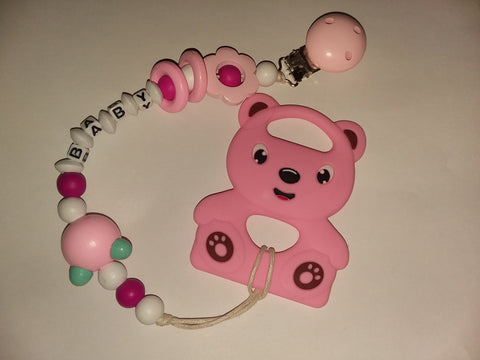 SILICONE TEETHER CHEWING TOY PACIFIER CLIP Bear TC442