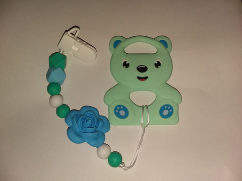 SILICONE TEETHER CHEWING TOY PACIFIER CLIP Bear TC443