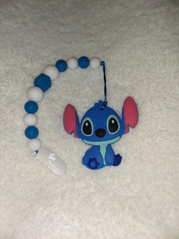 SILICONE TEETHER CHEWING TOY PACIFIER CLIP Alien TC711