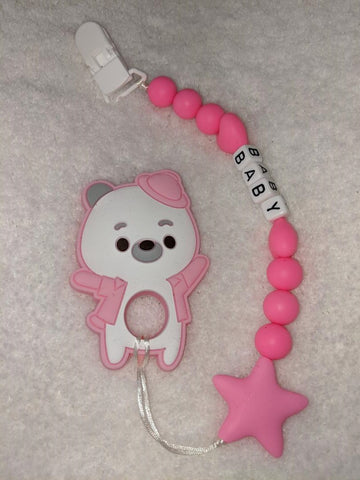 SILICONE TEETHER CHEWING TOY PACIFIER CLIP Bear TC784