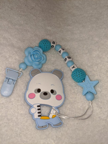 SILICONE TEETHER CHEWING TOY PACIFIER CLIP Bear TC785