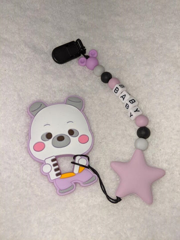 SILICONE TEETHER CHEWING TOY PACIFIER CLIP Bear TC787