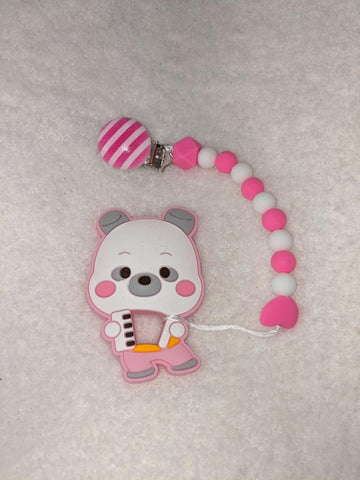SILICONE TEETHER CHEWING TOY PACIFIER CLIP Bear TC789