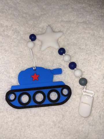 SILICONE TEETHER CHEWING TOY PACIFIER CLIP Army Tank TC863