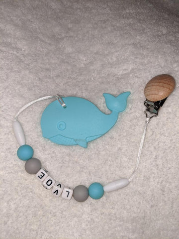 SILICONE TEETHER CHEWING TOY PACIFIER CLIP Ocean Whale TC866