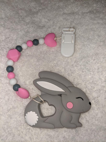 SILICONE TEETHER CHEWING TOY PACIFIER CLIP Bunny TC875