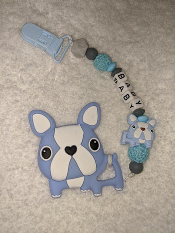 SILICONE TEETHER CHEWING TOY PACIFIER CLIP Dog TC881