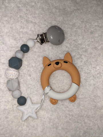 SILICONE TEETHER CHEWING TOY PACIFIER CLIP Dog 3