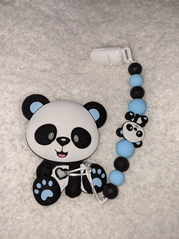 SILICONE TEETHER CHEWING TOY PACIFIER CLIP BEAR TC884