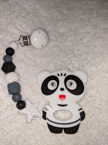 SILICONE TEETHER CHEWING TOY PACIFIER CLIP PANDA BEAR TC885