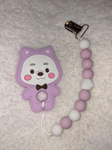 SILICONE TEETHER CHEWING TOY PACIFIER CLIP BEAR TC887