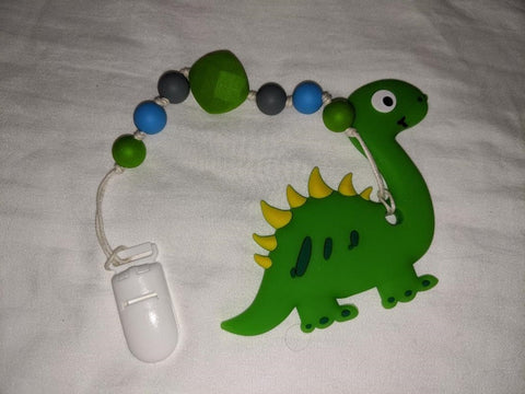 SILICONE TEETHER CHEWING TOY PACIFIER CLIP Dinosaur TC910