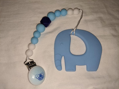 SILICONE TEETHER CHEWING TOY PACIFIER CLIP Elephant TC933