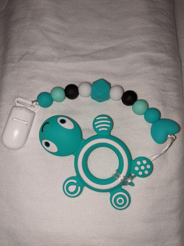 SILICONE TEETHER CHEWING TOY PACIFIER CLIP Ocean Turtle TC963
