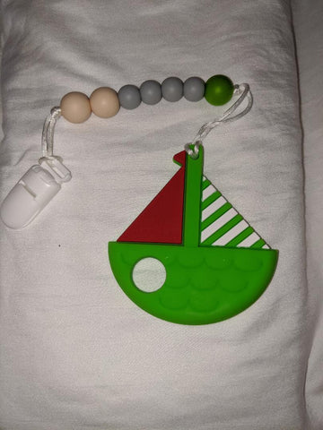 SILICONE TEETHER CHEWING TOY PACIFIER CLIP Sail Boat TC969