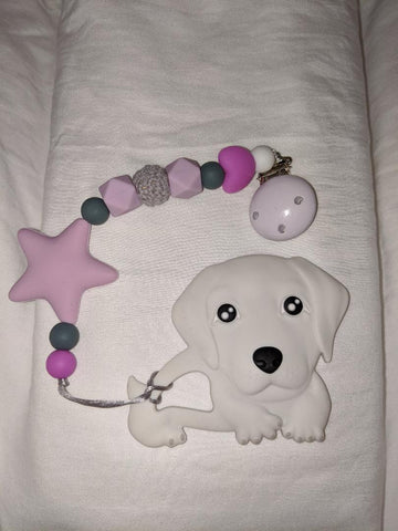 SILICONE TEETHER CHEWING TOY PACIFIER CLIP Dog TC981