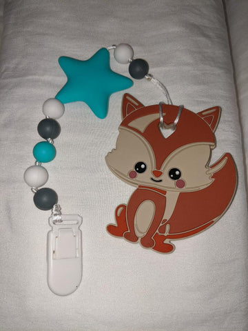 SILICONE TEETHER CHEWING TOY PACIFIER CLIP Fox TC983