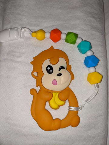 SILICONE TEETHER CHEWING TOY PACIFIER CLIP Monkey TC988