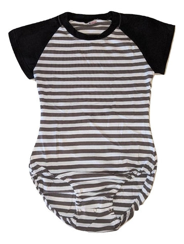 Short Sleeve Grey White Stripes Cotton Onesie