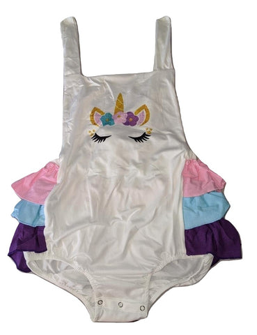 Unicorn Ruffle Cotton Sunsuit Romper