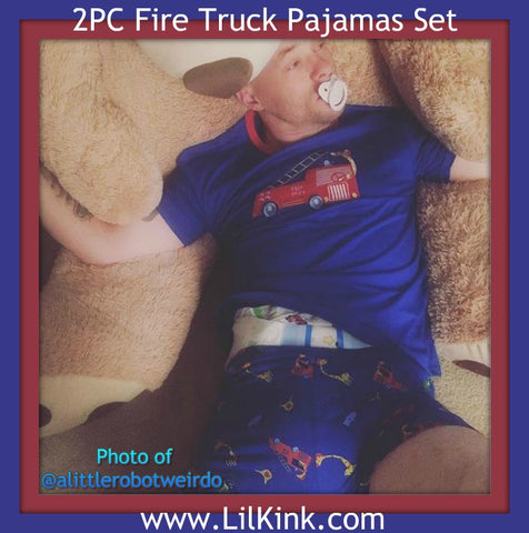 Fire Truck Cotton 2pc pajamas short SET Style #2