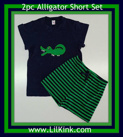 DISCONTINUED Alligator 2pc T-shirt & Striped Shorts Outfits Set CLEARANCE