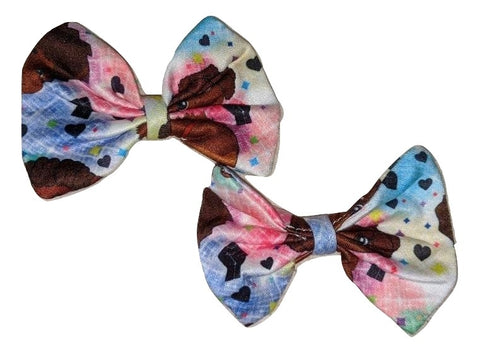 Melanin Babes 2pc Bows Matching Boutique Fabric Hair Bow Designed by @QueenPinPrincess