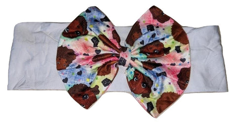 Melanin Babes Bow MATCHING Boutique Fabric Hairband Headband Designed by @QueenPinPrincess