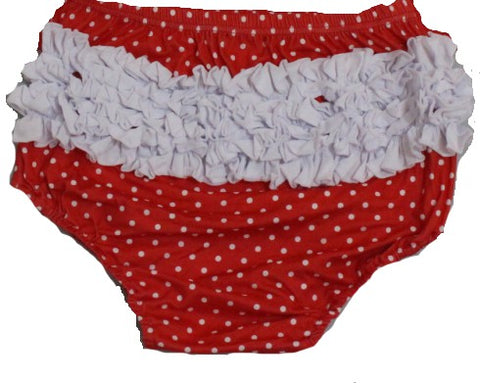 Independence Day White Red Polka Dots Ruffles Matching Bloomers
