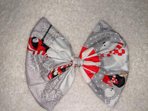 DISCONTINUED POLAR ANIMALS BEARS & PENGUINS MATCHING Boutique Fabric Hair Bow