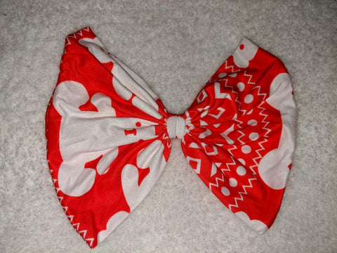 RED & WHITE BEAR MATCHING Boutique Fabric Hair Bow Clearance