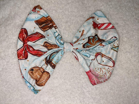DISCONTINUED HOT COCOA IN WINTER TIME MATCHING Boutique Fabric Hair Bow