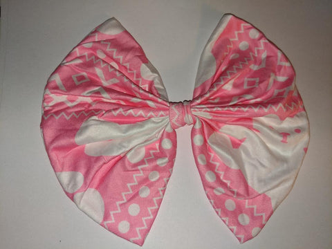 PINK & WHITE BEAR MATCHING Boutique Fabric Hair Bow Clearance