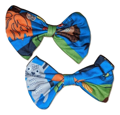 CAMPING Matching Boutique Fabric Hair Bow 2pc Set Clearance