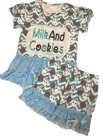 DISCONTINUED Cookies & Milk 2pc Short Sleeve Shirt & Matching Shorts Outfits Clearance