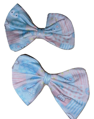LIL PASTEL CUTIES Matching Boutique Fabric Hair Bow 2pc Set