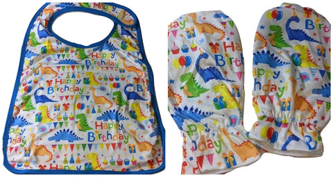 Happy Birthday Dinosaur Matching 2pc Bib Mittens Set