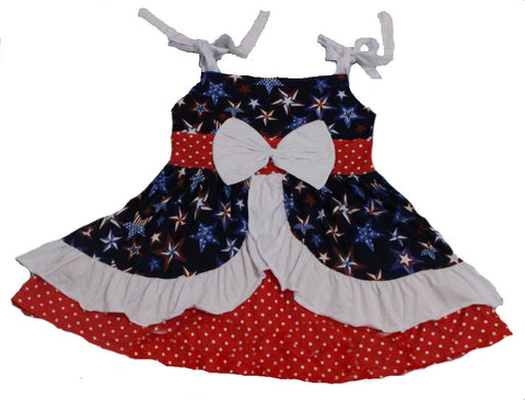Independence Day White Red Polka Dots Ruffles Swing Top Dress *Look at Measurements*