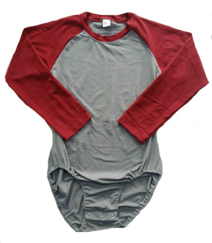 Long Sleeve Dark Red & Grey Raglan Onesie